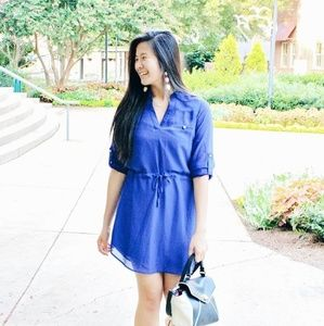 3/4 sleeve blue dress